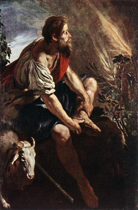 Moses before the burning bush, by Feti-Domenico